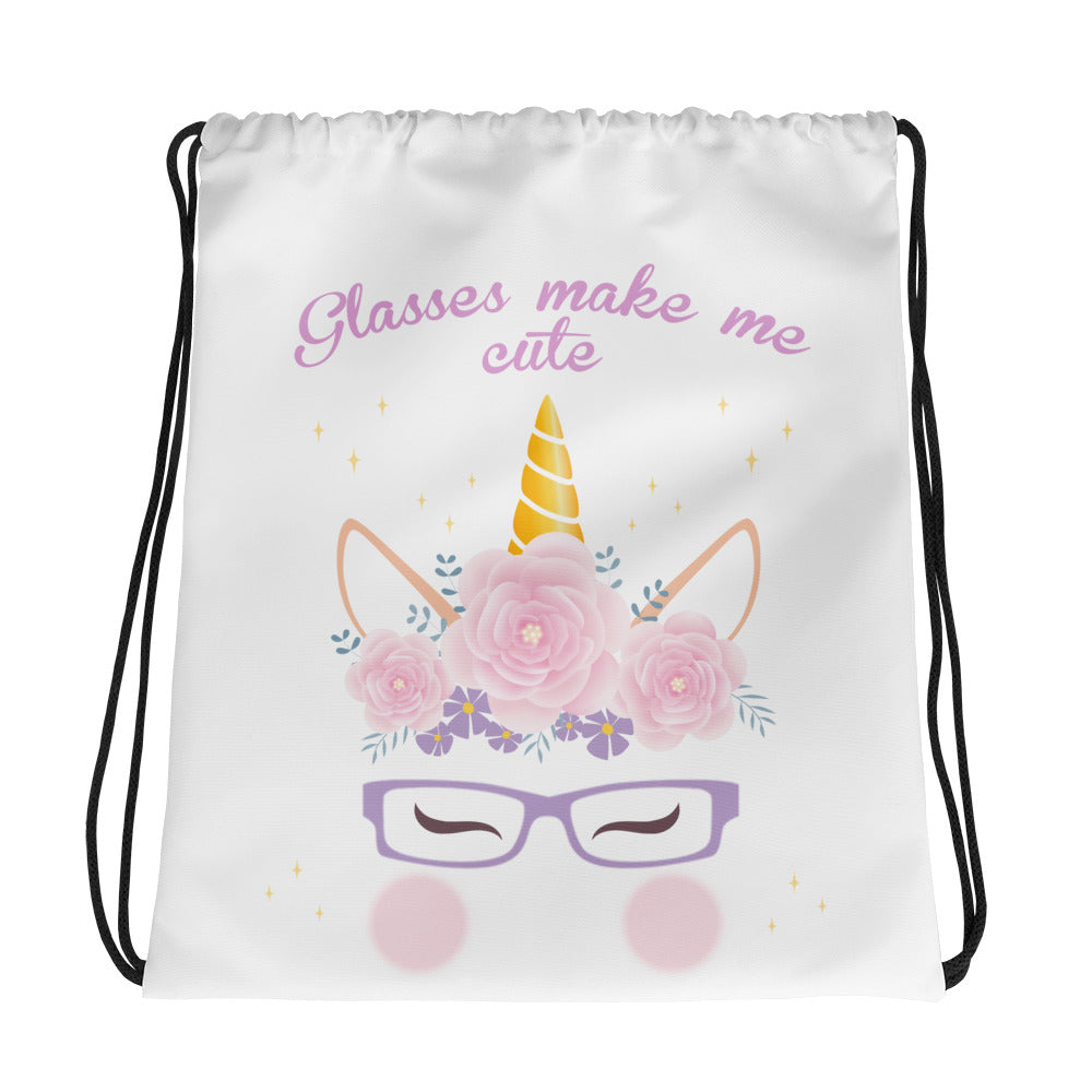 cute unicorn with glasses drawstring bag