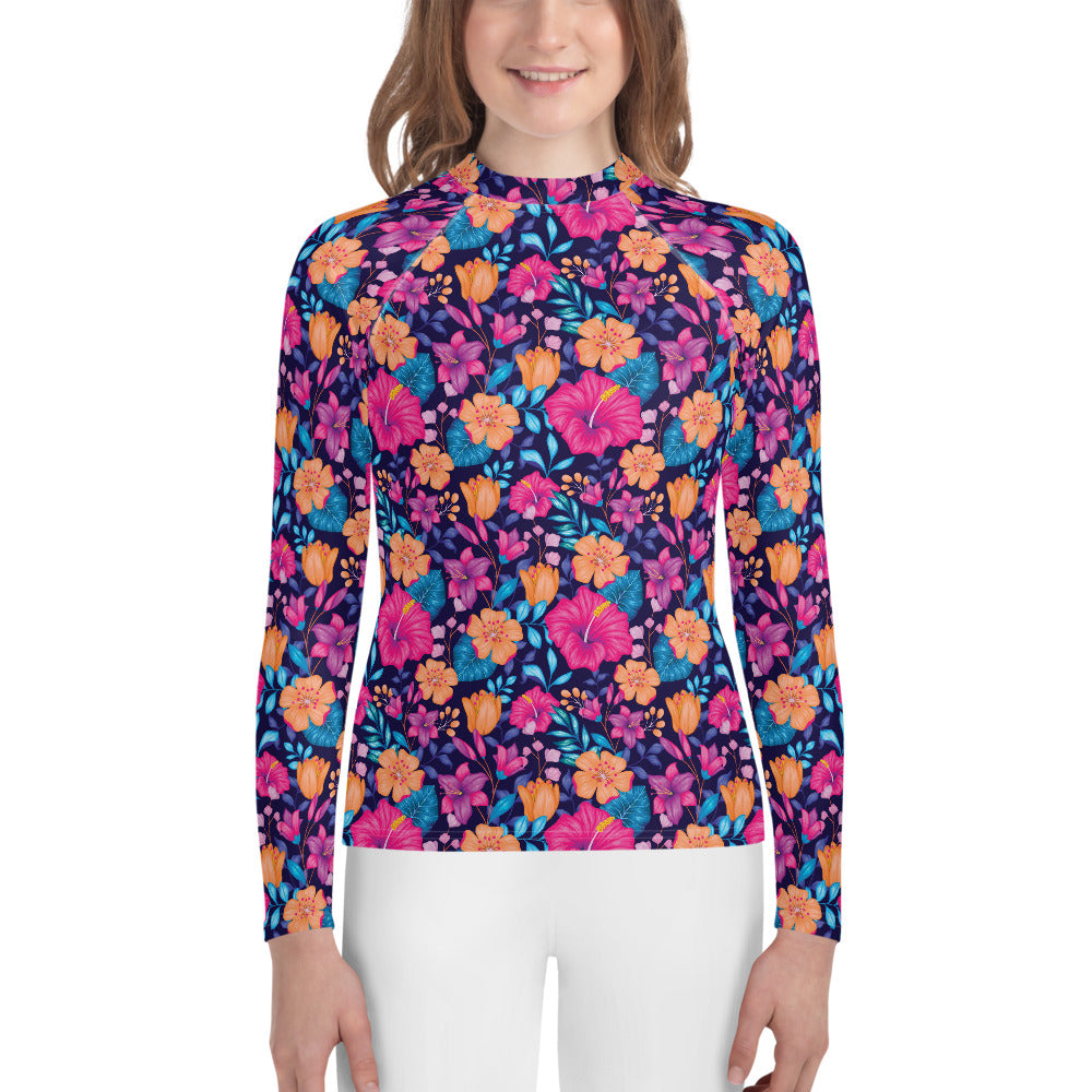 Youth Sun Safe UV Protection Rash Guard - Floral (8-20y) - Fairy Specs