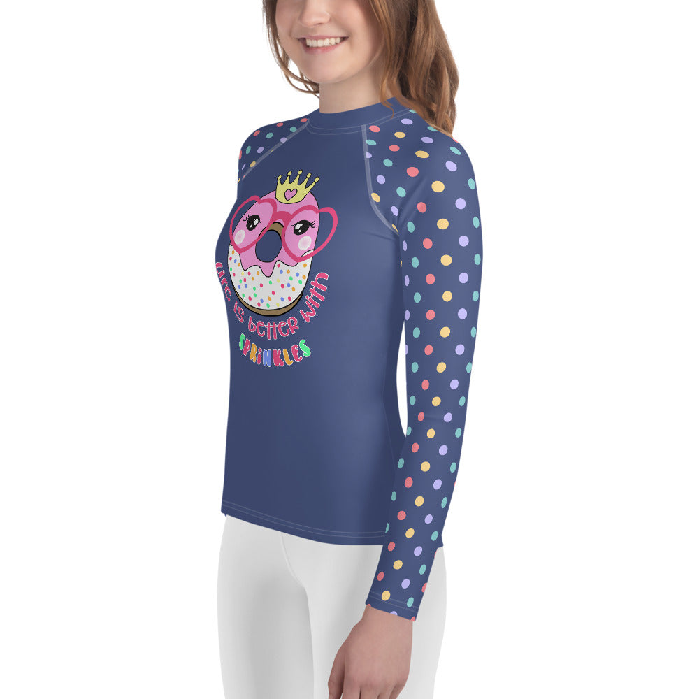Youth Sun Safe UV Protection Rash Guard - Donut with Glasses (8-20y) - Fairy Specs