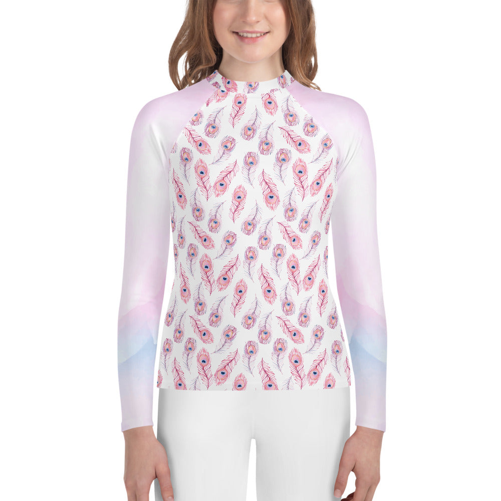 Youth Sun Safe UV Protection Rash Guard - Feathers (8-20y) - Fairy Specs