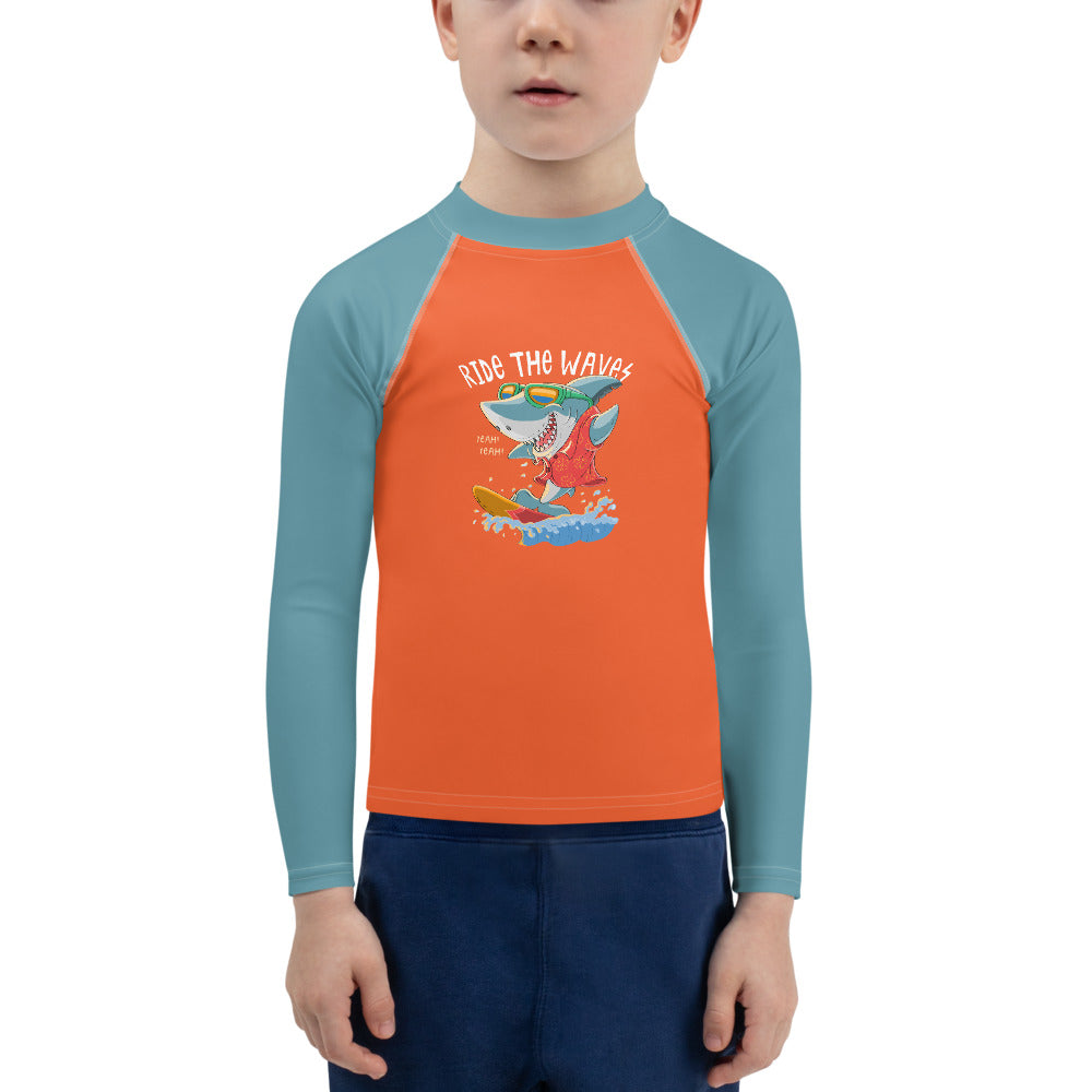 Sun Safe UV Protection Rash Guard - Surfing Shark (2-7y) - Fairy Specs