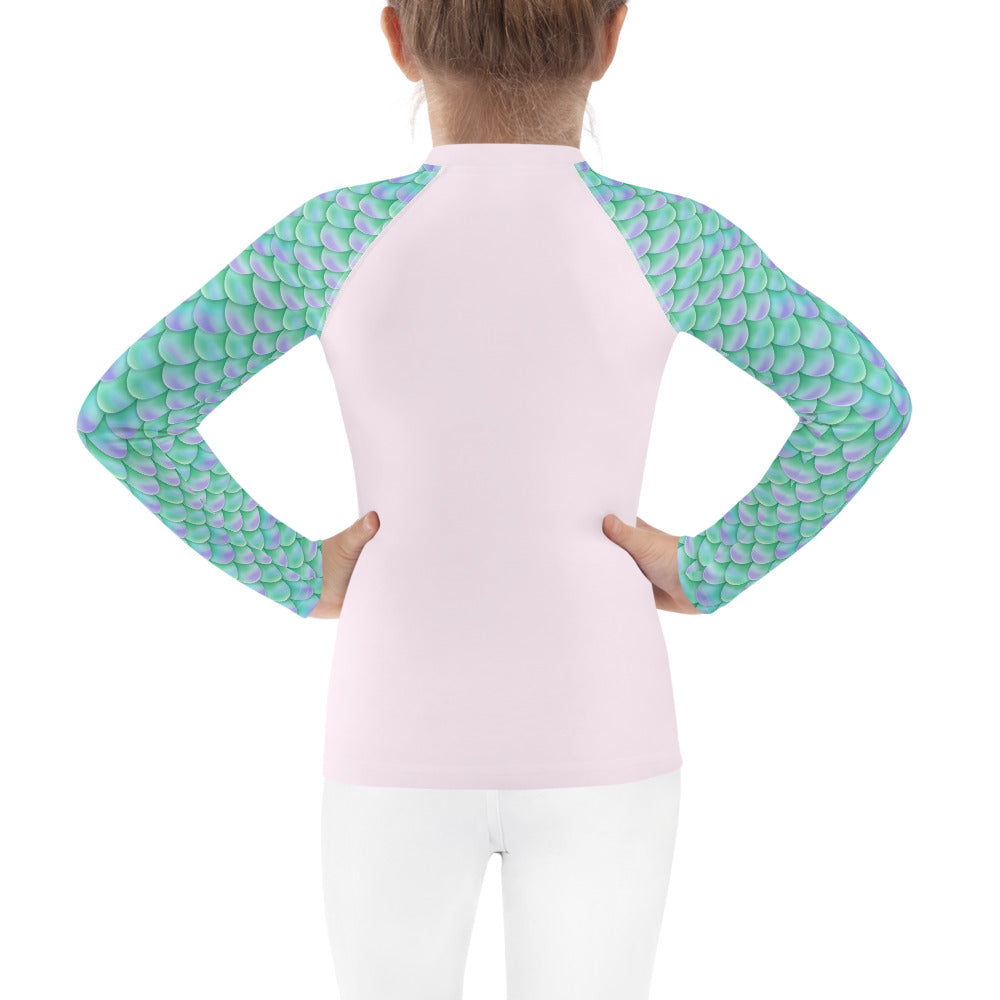 Girls Sun Safe UV Protection Rash Guard - Mermaid with Glasses (2-7y) - Fairy Specs
