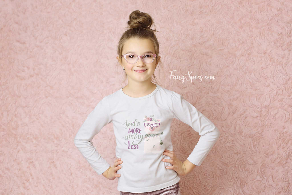 Kids' Long Sleeved Organic Cotton Top - Smile. Glasses-Wearing Llama - Fairy Specs