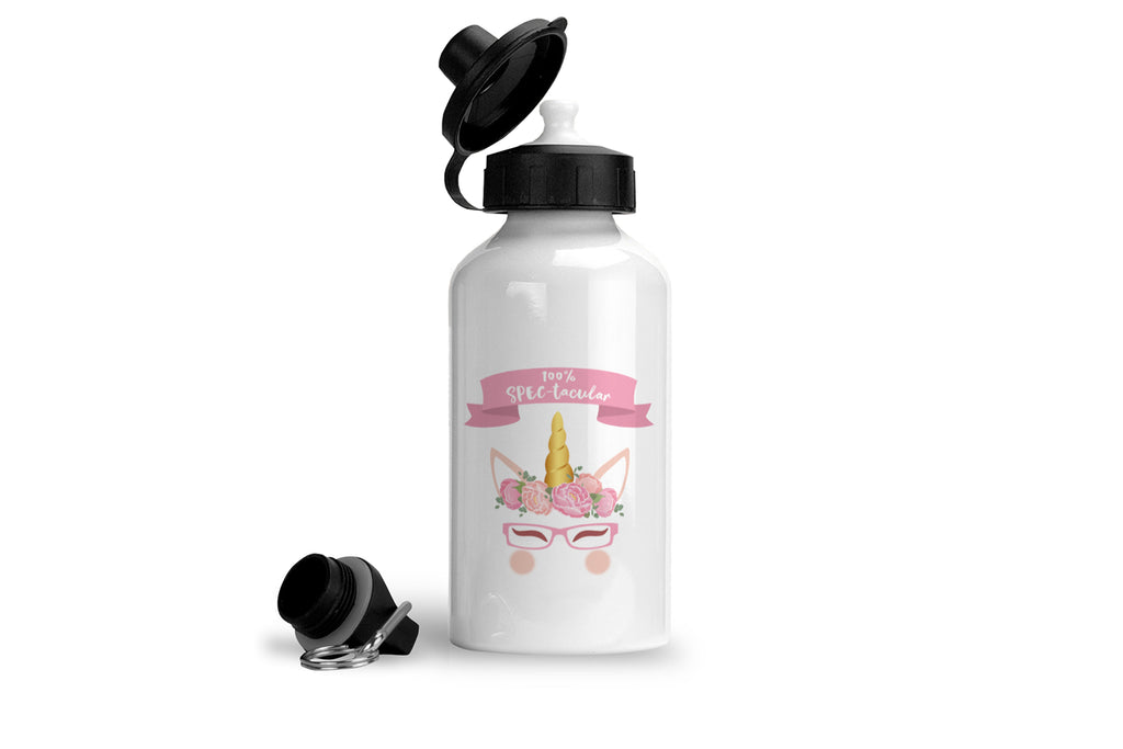 100% spectacular unicorn drinking bottle for girls who wear glasses