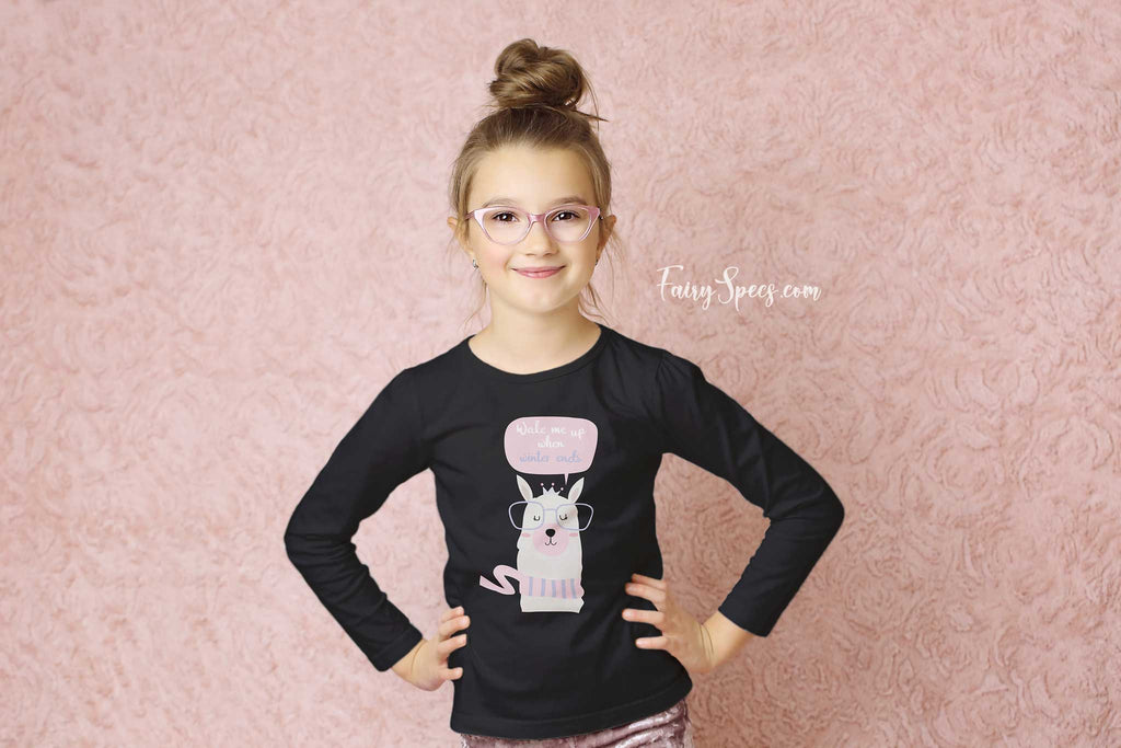Kids' Long Sleeved Organic Cotton Top - Winter Glasses-Wearing Llama - Fairy Specs