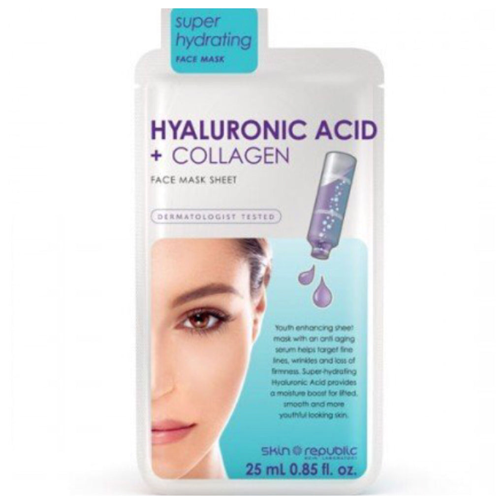 Skin Republic Face Sheet Mask Hyaluronic Acid + Collagen 25ml