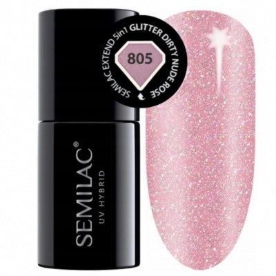 SEMILAC Extended Base 5in1 - 805 Glitter Dirty Nude Rose 7ml