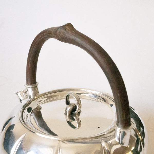 800ml Handmade Silver Kettle - Wooden Handle