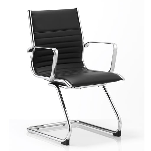 Visitor Cantilever Chair Black Bonded Leather With Arms