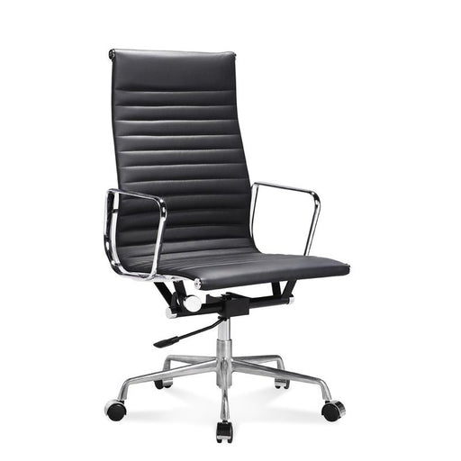 Dynamic chrome and leather executive chair