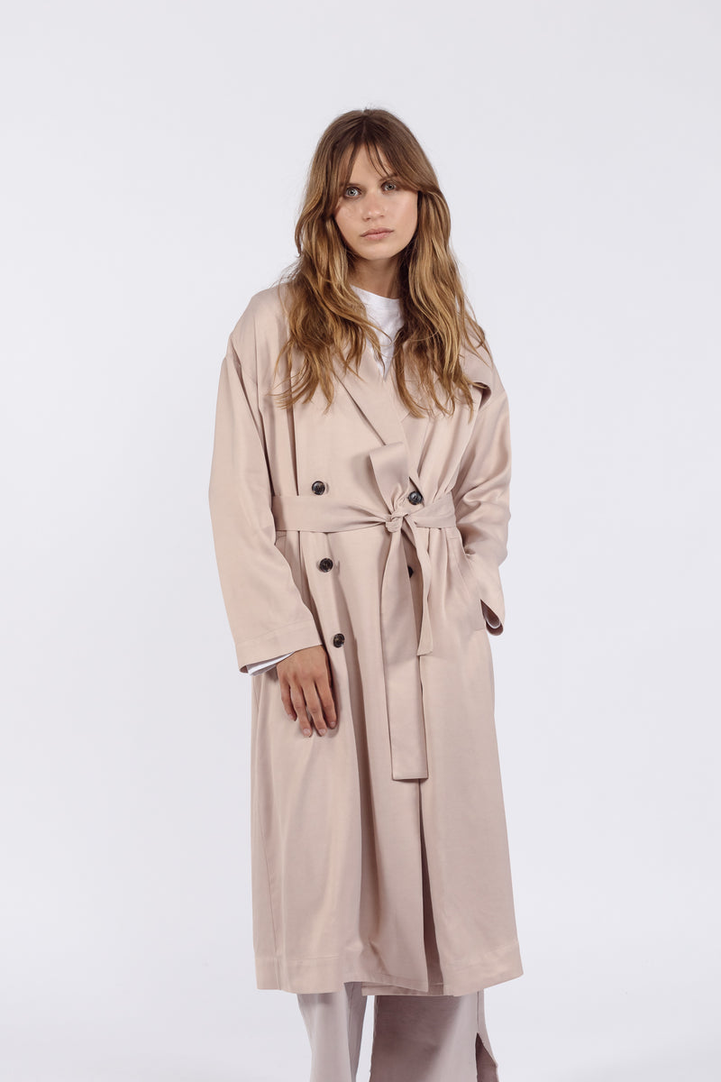 Clarisse Viscose Coat | Warm Nude