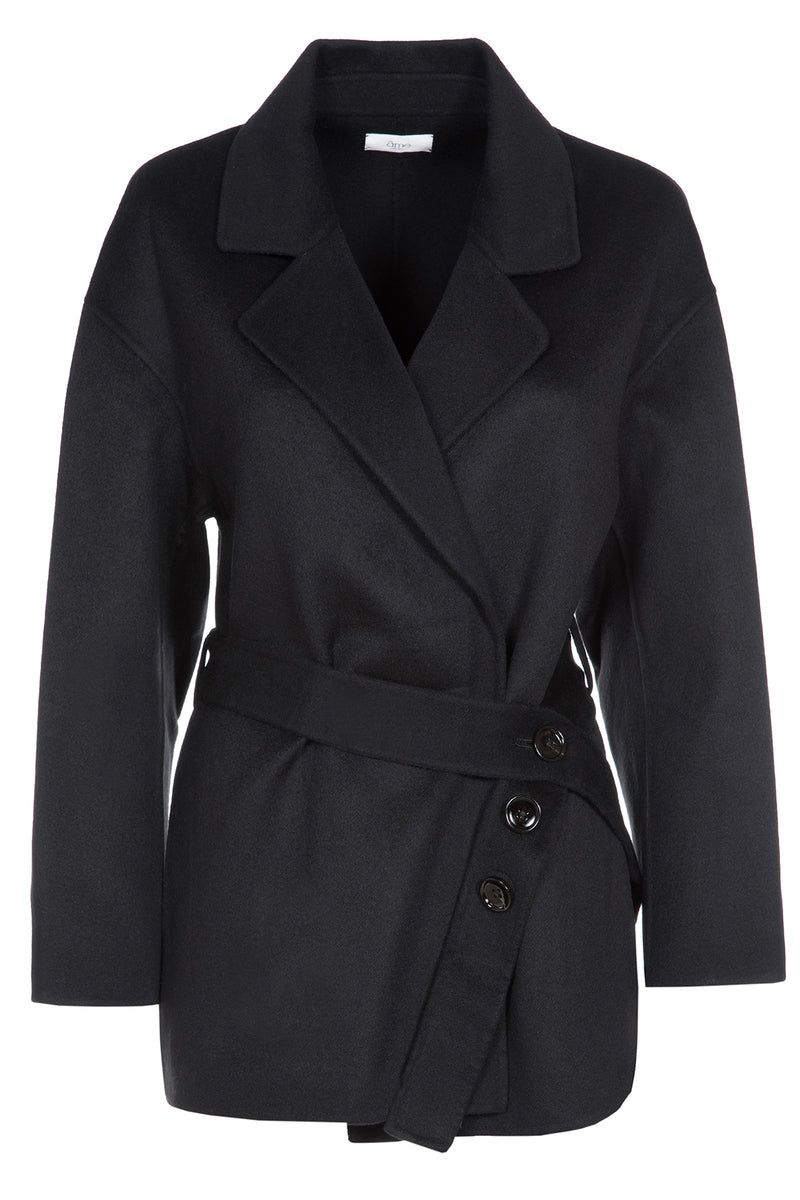 Clarisse Viscose Coat | Dark Blue