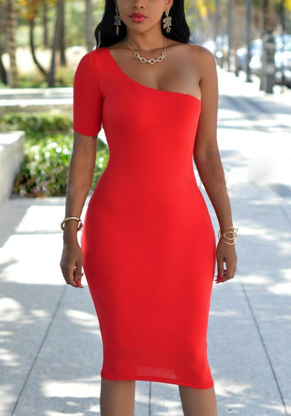 Red Asymmetric Shoulder Backless Bodycon Banquet Elegant Party Midi Dress