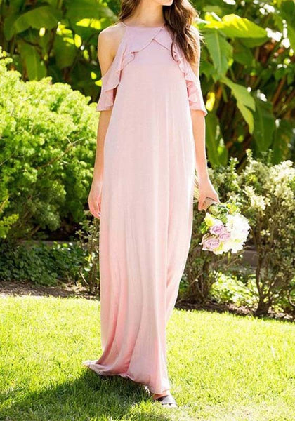 Pink Spaghetti Strap Falbala Pockets Comfy Casual Maxi Dress
