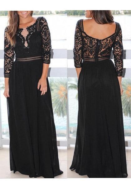 Black Patchwork Lace Draped Backless Elegant Cocktail Party Maxi Dress
