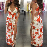 White Floral Print Cut Out Tie Back Backless Double Slit Maxi Dress