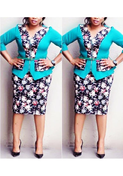 Turquoise Floral Zipper Plus Size Peplum Two Piece Elbow Sleeve Formal Midi Dress