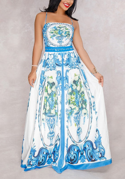 Blue Tribal Floral Tie Back Spaghetti Strap Backless Bohemian Party Maxi Dress