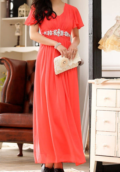 Orange Patchwork Rhinestone Pleated V-neck Flutter Sleeve Maxi Dress
