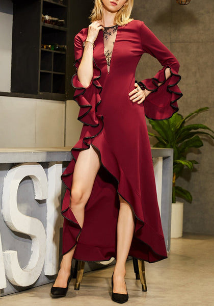 Red Ruffle Irregular Swallowtail Lace High-Low Bell Sleeve Elegant Party Maxi Dress
