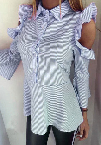 Blue Striped Single Breasted Turndown Collar Fashion Blouse