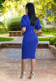 Blue Zipper Ruffle Bodycon Band Collar Elegant Party Midi Dress