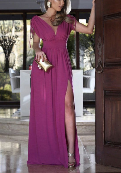 Rose Carmine Side Slit Deep V-neck High Waisted Flowy Elegant Party Maxi Dress