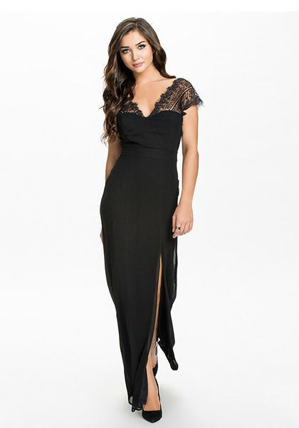 Black Irregular Patchwork Short Sleeve V-neck Maxi Dress