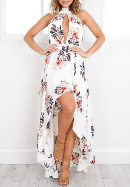 White Floral Halter Neck Cut Out Backless Irregular Draped Fashion Maxi Dress