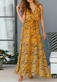 Yellow Draped Drawstring Lace-up Flowy V-neck Vegas Bohemian Maxi Dress