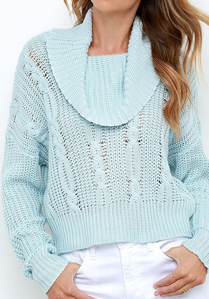 Blue Plain High Neck Fashion Acrylic Pullover Sweater