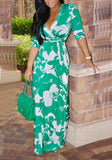 Green Sashes Slit V-neck Bohemian Elegant Banquet Casual Party Maxi Dress