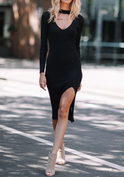 Black Cut Out Slit Side V-neck Long Sleeve Midi Dress