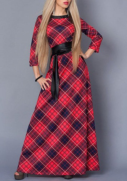 Red Buffalo-Plaid Sashes Long Sleeve Christmas Flare Out Casual Maxi Dress