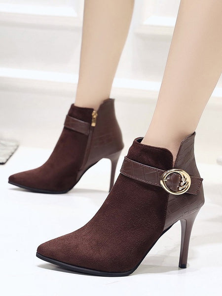New Coffee Point Toe Fashion Ankle Boots