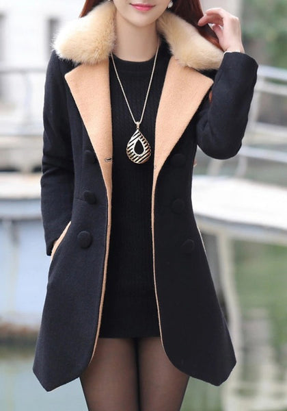 Black Irregular Pockets Turndown Collar V-neck Long Sleeve Cardigan Coat