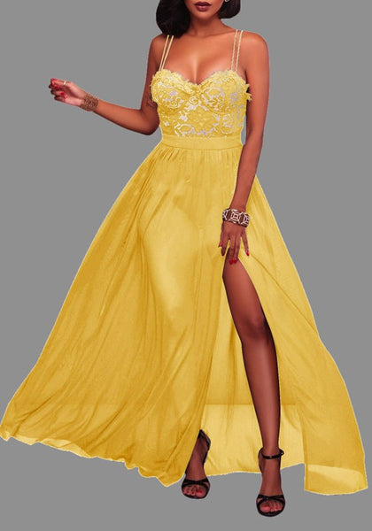 Yellow Patchwork Spaghetti Strap Backless Lace Draped Sleeveless Maxi Dress