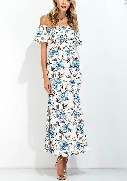 White Boho Flowers Off Shoulder Ruffle Back Slit Party Homecoming Polyester Maxi Dress