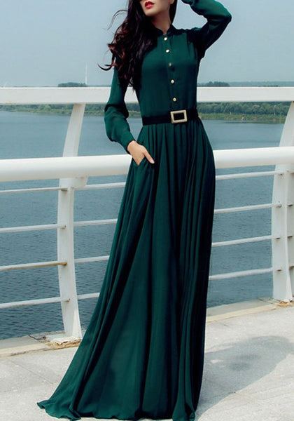 Green Single Breasted Pockets Draped Bohemian Elegant Party Maxi Dress
