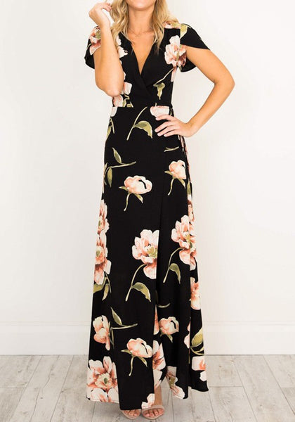 Black Flowers Print Slit V-neck Short Sleeve Chiffon Maxi Dress