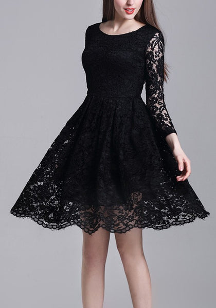 Black Draped Lace High Waisted Banquet Elegant Party Midi Dress