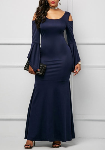 Navy Blue Off Shoulder Mermaid Plus Size Long Sleeve Elegant Maxi Dress
