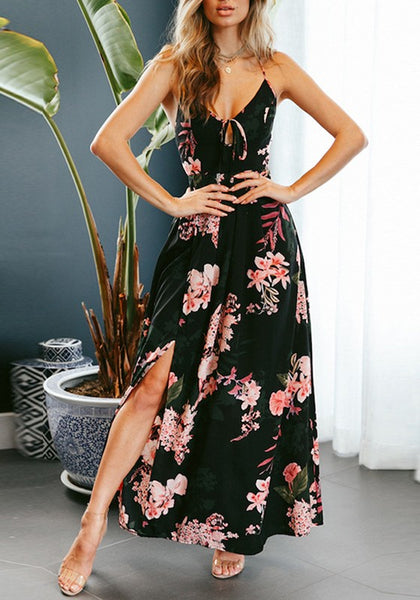 Black Backless Cross Back Draped Side Slit Spaghetti Strap Lace-up Bohemian Maxi Dress