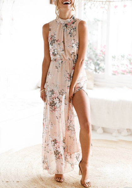 Pink Cut Out Side Slit Backless High Waisted Bohemian Beach Party Maxi Dress