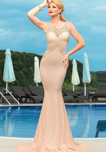 Apricot Bow Backless Mermaid Bridesmaid Prom Evening Party Polyester Maxi Dress
