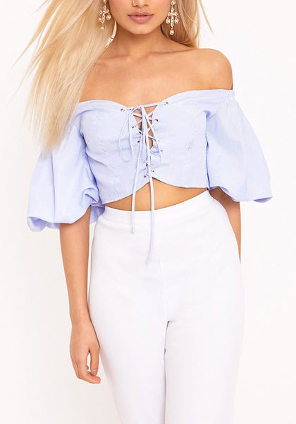Blue Lace-up Backless Off Shoulder Homecoming Party Puff Sleeve Sweet Sweatshirt