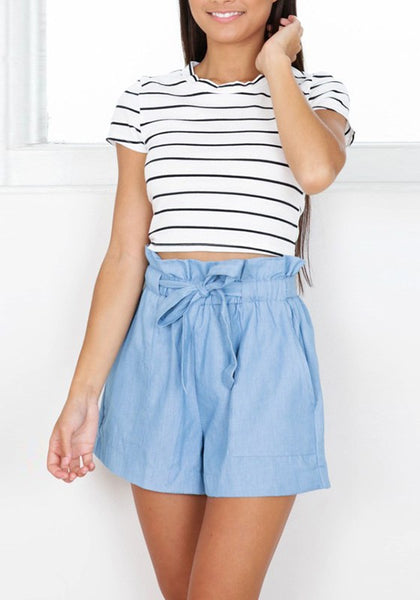 Blue Bow Belt Mid-rise Loose Fashion Shorts