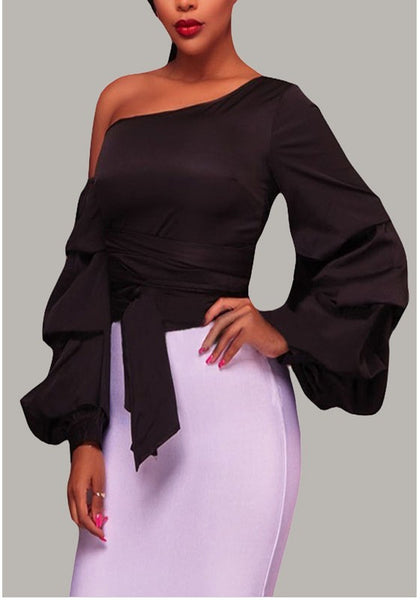 Black Asymmetric Shoulder Belt Pleated Backless Lace-up Homecoming Party Long Sleeve Fashion T-Shirt