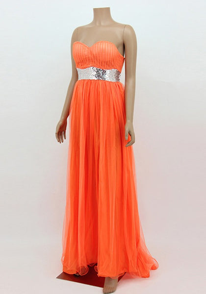 Orange Patchwork Sequin Bandeau Grenadine Draped Backless Maxi Dress