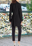 Black Double Breasted Pockets Turndown Collar Long Sleeve Fashion Wool Coat